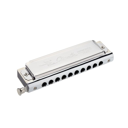 Swan Chromatic Harmonica 10 Holes 40 Tones Key of C Silver with Exquisite Box