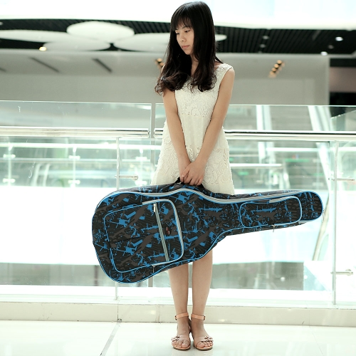 600D Water-resistant Oxford Cloth Camouflage Blue  Double Stitched Padded Straps Gig Bag Guitar Carrying Case for 41Inchs Acoustic Classic Folk Guitar