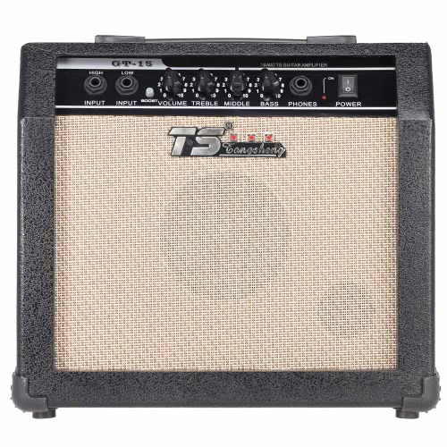 """GT-15 Professional 3-Band EQ 2 Channel Electric Guitar Amplifier Distortion Amp 15W with 5"""" Speaker I1885UK"""