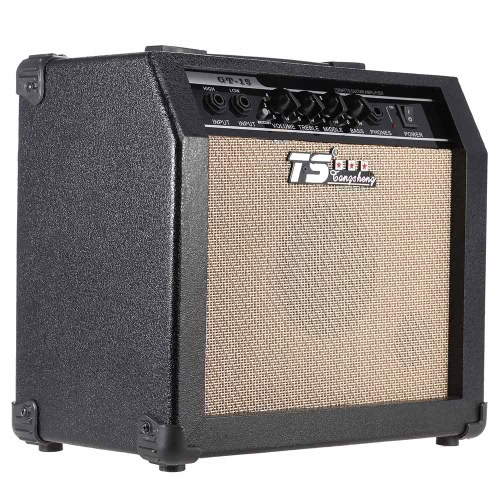 GT-15 Professional 3-Band EQ 2 Channel Electric Guitar Amplifier Distortion Amp 15W with 5