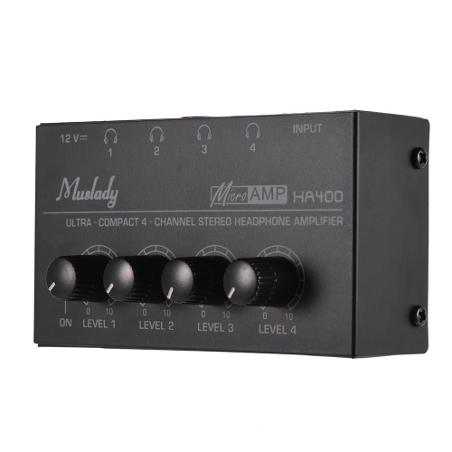 Muslady HA400超コンパクト4チャンネルミニオーディオステレオヘッドフォンアンプ、電源アダプター付き