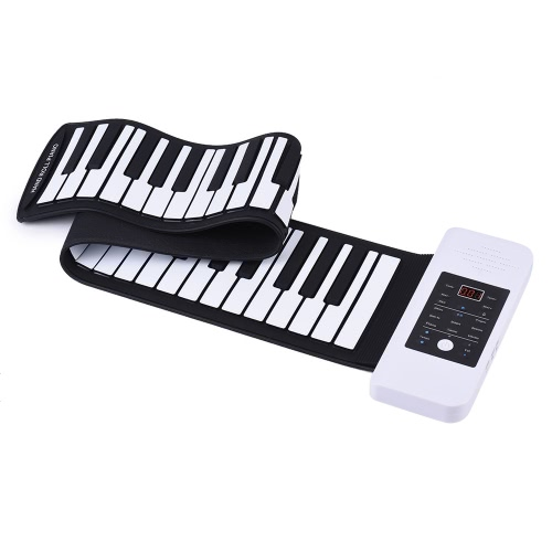 Portable Silicon 61 Keys Hand Roll Up Piano Electronic USB Keyboard with Built-in Li-ion Battery and Loud Speaker