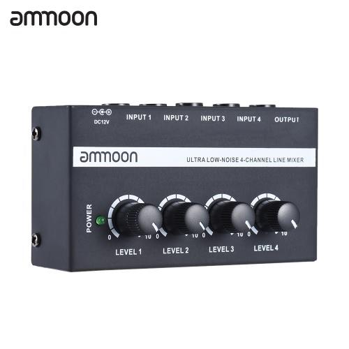 ammoon MX400 Ultrakompakt Low Noise 4 Kanäle Line-Mono-Audio-Mixer mit Netzteil