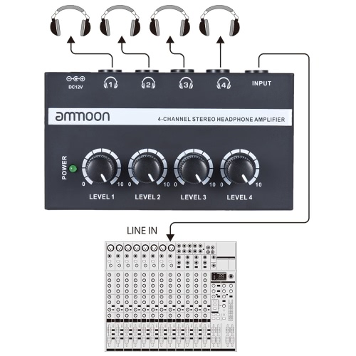 ammoon HA400 Ultra-compact 4 Channels Mini Audio Stereo Headphone Amplifier with Power Adapter I2676UK