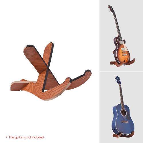 フロアタイプ木製ギタースタンドホルダー楽器ブラケットエレクトリックアコースティックギターのためのポータブルリムーバブルフレームバスストレージディスプレイ