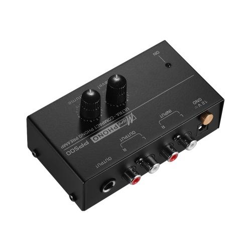 Pré-amplificador Phono Preamp ultracompacto com controles de nível e volume Entrada e saída RCA Interfaces de saída TRS de 1/4 de polegada