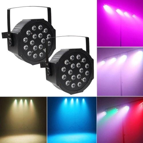 LED Stage Light Lamp RGB PAR Lights 18pcs LEDs 18W Sound-activated Auto DMX512 Disco Light for DJ Party Wedding Club Pub KTV, Pack of 2 Lights