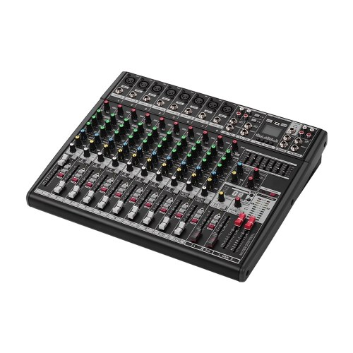 Professional 12-Channel DJ Sound Mixing Console Digital Mixer with 48V Phantom Power