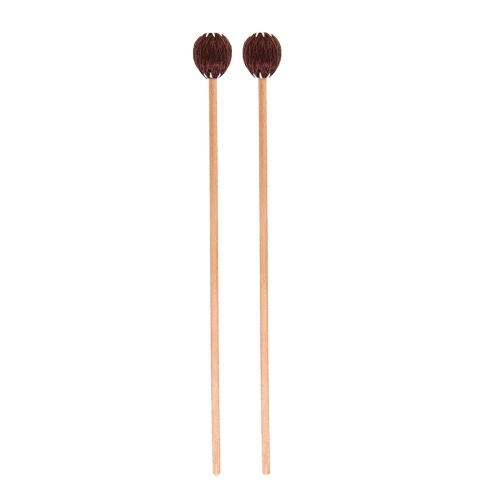 1 Pair Marimba Mallets Medium Hard with Yarn Head Beech Wood Handle