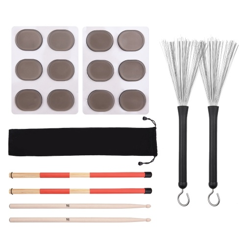 Drum Sticks Set 1 Pair Retractable Drum Wire Brushes Drum Stick Brush 1 Pair 19-Rod Bamboo Drum Brushes Sticks 1 Pair 5A Classic Maple Wood Drumsticks 12pcs Mute Pads for Jazz Folk Acoustic Music Lover