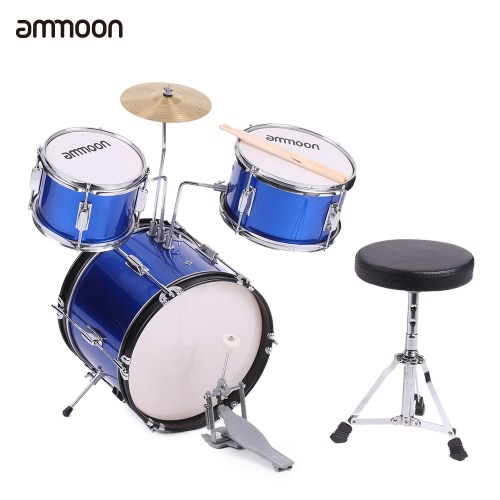 ammoon 3-Piece Kids Children Junior Drum Set Drums Kit Percussion Musical Instrument with Cymbal Drumsticks Adjustable Stool
