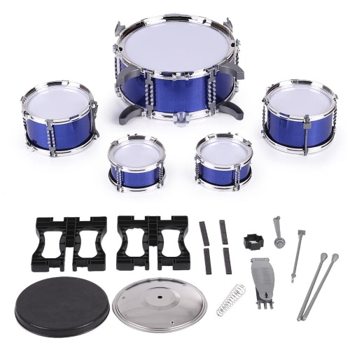Children Kids Drum Set Musical Instrument Toy 5 Drums with Small Cymbal Stool Drum Sticks for Boys Girls