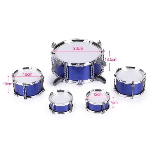 Bild von Kinder Kinder Drum Set Musikinstrument Spielzeug 5 Trommeln mit Kleinen Becken Hocker Drum Sticks für Jungen Mädchen