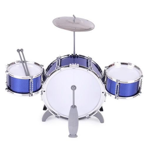 Musical Instrument Toy Drum Set 3 Drums with Small Cymbal Stool Drum Sticks for Children Kids Boys Girls