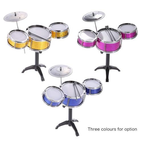 Bild von Kinder Kinder Desktop-Drum Set 3 Drums Musikinstrument-Spielzeug mit kleinen Becken Drum Sticks
