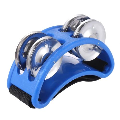 Fuß Tamburin Perkussion Musikinstrument 2 Sets Metall Jingle Bell