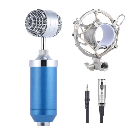 Broadcasting Studio Recording Condenser Microphone Mic Set with Shock Mount 3.5mm Audio Cable Mini Pop Filter