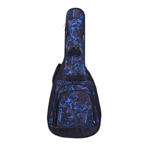 """42 """"Akustyczna Klasyczna Torba na Gitarę Torba na Plecak Regulowany Pasek na Ramię 600D Tkanina Wielokrotny Kamuflaż Niebieski"""