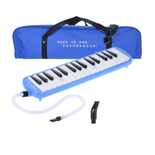 Qimei QM32A-9 32 Piano Style Schlüssel Melodica Musikerziehung Instrument für Anfänger Kinder-Kind-Geschenk mit Tragetasche Blau