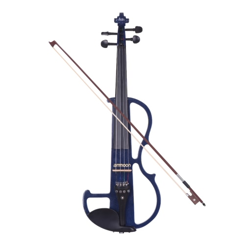 ammoonフルサイズ4/4ソリッドウッドエレクトリックサイレントバイオリン