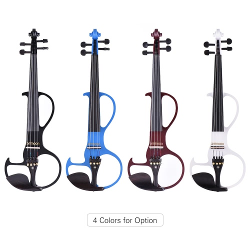 ammoon VE-207 Full Size 4/4 Solid Wood Silent Electric Violin Fiddle Maple Body Ebony Fingerboard Pegs Chin Rest Tailpiece with Bow Hard Case Tuner Headphones Rosin Audio Cable Extra Strings Black