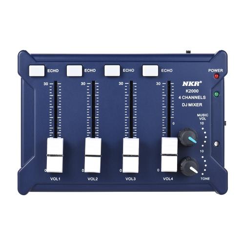 プロフェッショナルミニポケット4チャンネルモノラルステレオオーディオDJサウンドミキサーUSBパワードBT接続携帯電話オレンジ