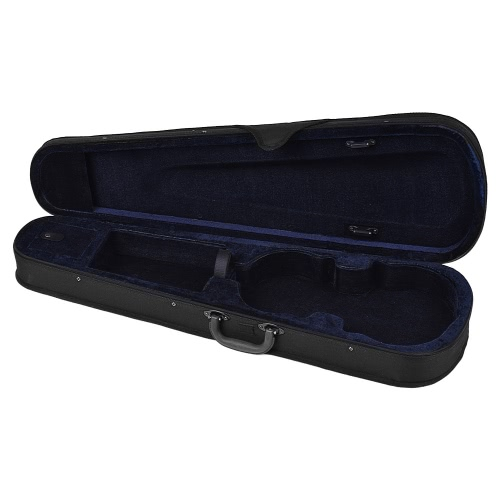 Professional 1/4 Violin Triangle Shape Case Box Hard & Super Light with Shoulder Straps Beige