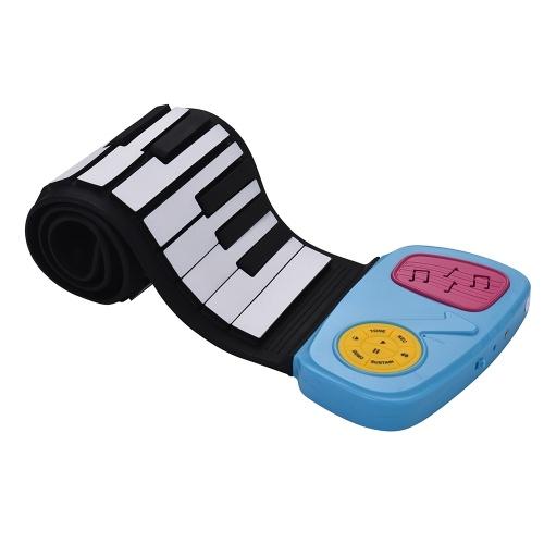 Tragbare 49-Tasten-Silikon-elektronische Tastatur Roll-Up Piano Eingebauter Lautsprecher mit Cartoon-Aufkleber für Kinder Kinder