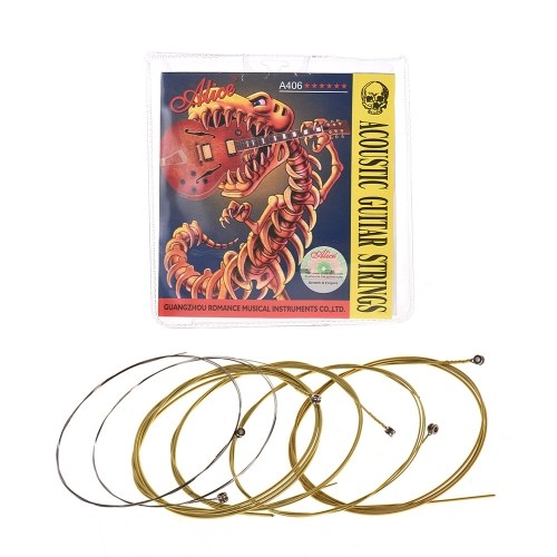 Alice A406 Series Acoustic Folk Guitar Strings Set Stainless Steel Wire Steel Core Coated Copper Alloy Wound, 6pcs/ Set, Super Light(.011-.052)