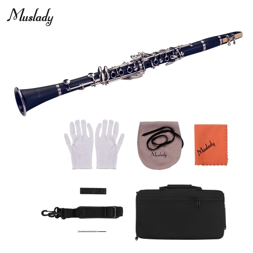 Muslady ABS 17-Key Clarinet Bb Flat with Carry Case Gloves Cleaning Cloth фото