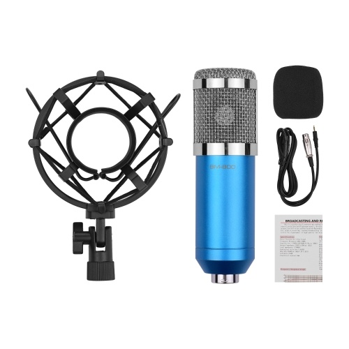 Professional Cardioid Condenser Microphone Kit with Audio Cable Metal Shockproof Clamp High Sensitivity Low Noise Mic