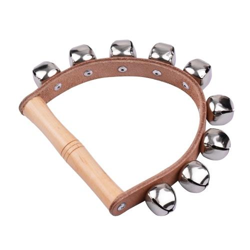 Handbell Handglocken mit 5 Stück Jingle Bells Holzgriff Musikinstrument Spielzeug für den Musikunterricht