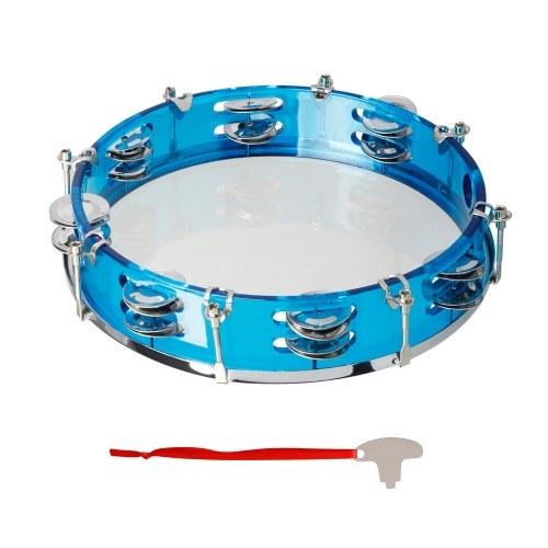 10 Zoll handgehaltenes zweireihiges Tamburin-Schlagzeug-Schlagzeug-Percussion-Instrument