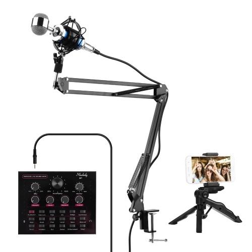 Muslady V12 Live Sound Card + Professional Condenser Microphone Kit