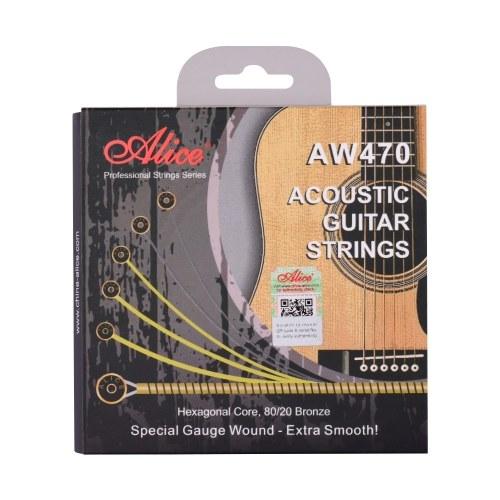 Alice AW470-CL Akustikgitarrensaiten Sechskantkern & 80/20 Bronze Wickelsaitenset Benutzerdefinierte leichte Spannungssaiten für Gitarren von 34 bis 39 Zoll