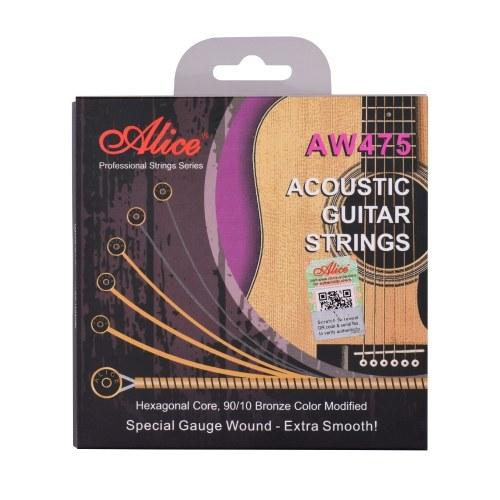 Alice AW475-CL Струны для акустической гитары с шестигранным сердечником и бронзовой обмоткой 90/10, набор струн с настраиваемым натяжением для гитар от 34 до 39 дюймов