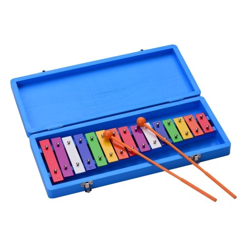Muslady 15 Keys Glockenspiel Xylophon Buntes frühes pädagogisches Musikinstrument mit Gehäusen für die Entwicklung des Musiksinns