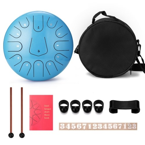 12 inch 13 Tone Steel Tongue Drum Hand Pan Drums with Drumsticks Percussion Musical Instruments
