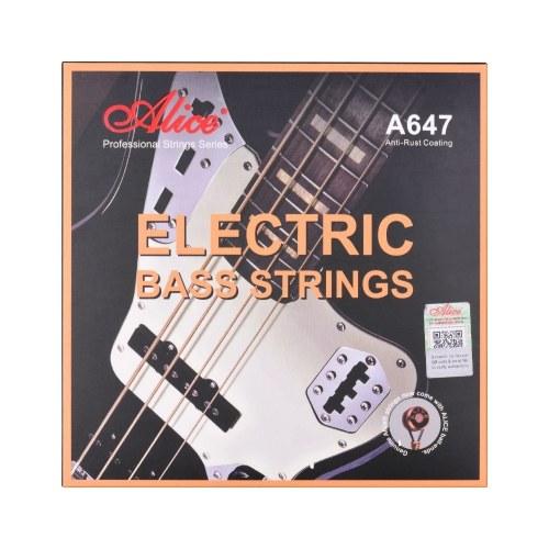 Alice A647 (4) -M E-Bass Saiten Sechskantkern Bronze Eisenlegierung Wicklungssaiten für 4-Saiter 22-24 Bünde E-Bass
