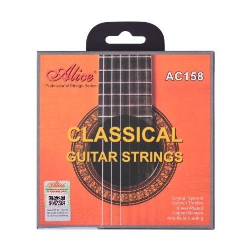 Alice AC158-H Klassische Gitarrensaiten Crystal Nylon & Carbon (G) Gitarrensaitenset für klassische Gitarren von 34 bis 39 Zoll