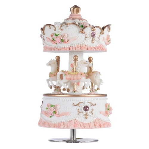 Muslady Laxury Windup 3-horse Carousel Music Box Artware/Gift Melody Castle in the Sky Pink/Purple/Blue/Gold Shade for Option