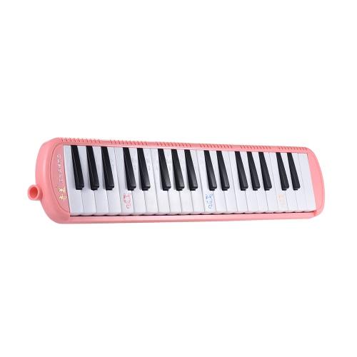 バッグピンクキャリングと初心者キッズ子供ギフト用QIMEI QM37A-7 37ピアノスタイルキーメロディカ音楽教育楽器