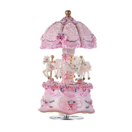 Luxury Dream 3-Horse Rotating Carousel Merry-go-round Windup Music Box