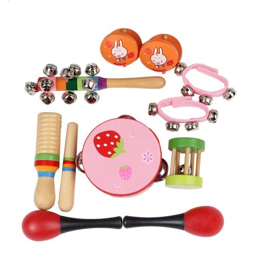 10個/セット音楽玩具打楽器楽器バンドリズムキットタンバリンマラカスを含むCastanets Handbells木製のギロ子供向け幼児