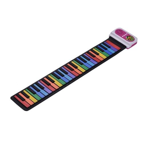 49-Key Tragbare Roll-Up Piano Silikon Elektronische Tastatur Bunte Tasten Eingebauter Lautsprecher Musical Spielzeug für Kinder Kinder