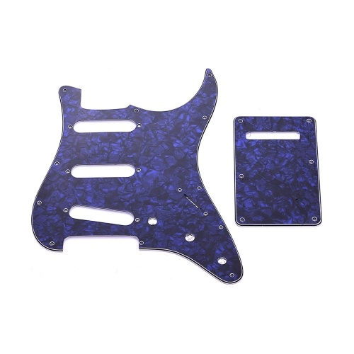 SSS Electric Guitar Pickguard Set with Back Plate Screws Pick Guard for American ST Style Guitars Blue Pearl