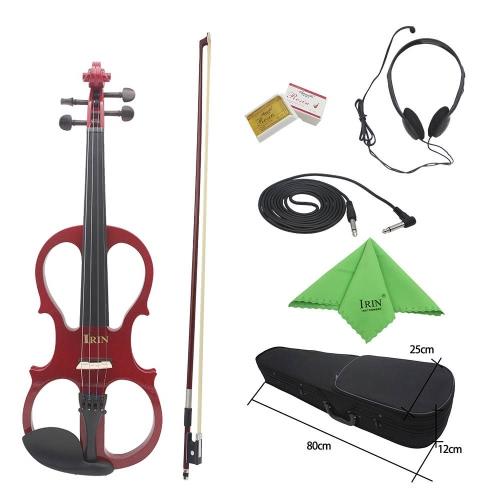 4/4 メイプル エレクトリック ・ ヴァイオリン音楽愛好家初心者のための黒檀付属品ケーブル ヘッドホン ケースと弦楽器のバイオリンします。