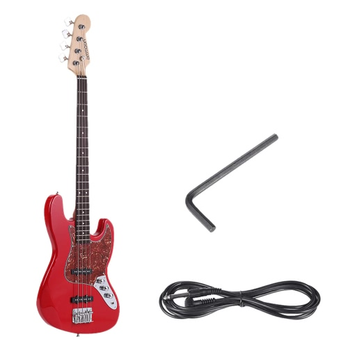 ammoon Solid Wood 4 String JB Electric Bass Guitar  Basswood Body Rosewood Fretboard 24 Frets with 6.35mm Cable