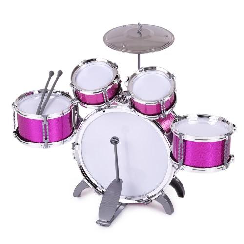 Детские детские барабанные комплекты Музыкальные игрушки для инструментов 5 барабанов с маленькими тарелками для табуретов для мальчиков