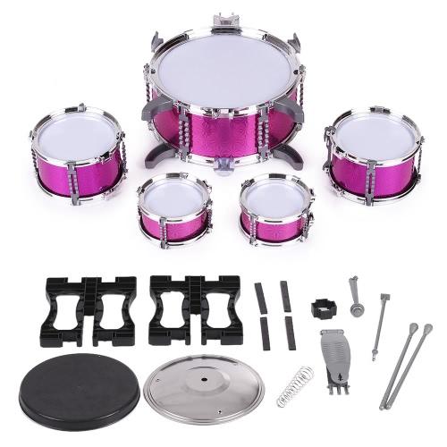 子供の子供のドラムセット楽器のおもちゃ5小さなドラムを持つスツールドラムスティック少年少女のための